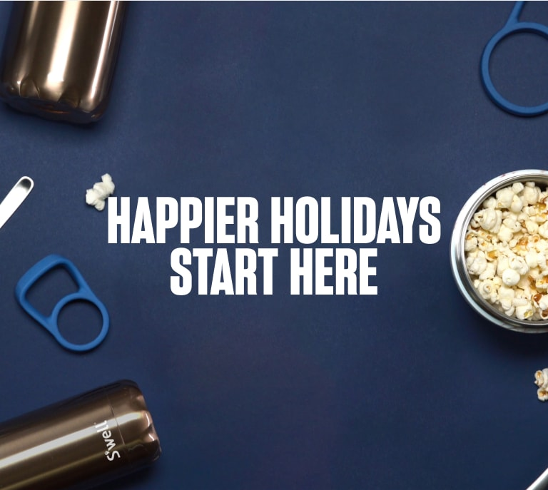 S'well Home Banner 1: Happier Holidays Start Here